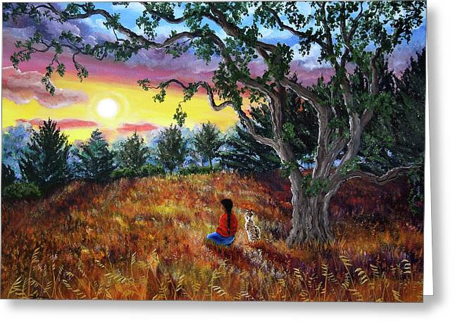 Native American Woman Greeting Cards - Summer Sunset Meditation Greeting Card by Laura Iverson