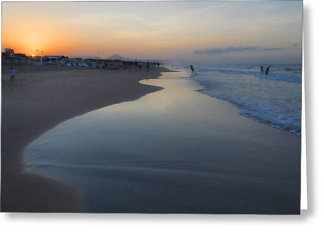 Paella Greeting Cards - Summer sunset on the beach Greeting Card by JJF Architects