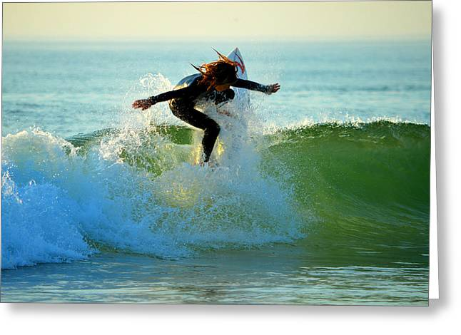 North Sea Greeting Cards - Summer Surfer Greeting Card by Dianne Cowen