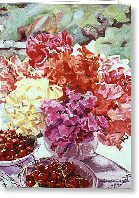 Bowl Of Flowers Greeting Cards - Summer Sweet Cherries Greeting Card by David Lloyd Glover