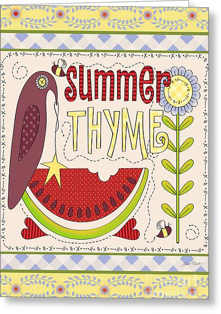 Crows Greeting Cards Greeting Cards - Summer Thyme-JP2832 Greeting Card by Jean Plout