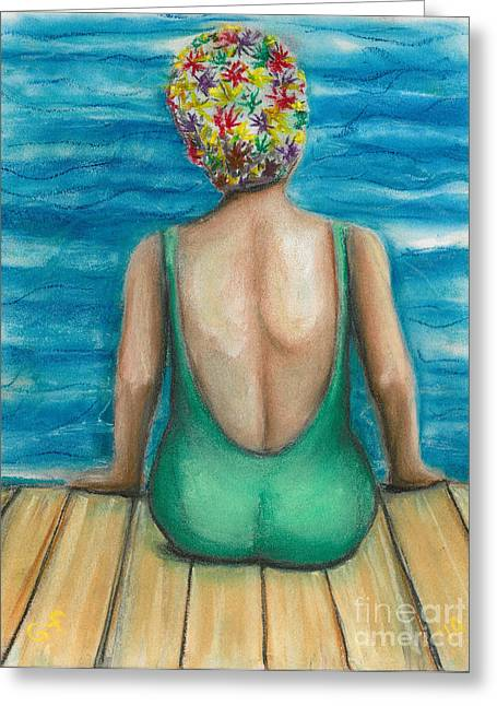 Swimmers Pastels Greeting Cards - Summer Time Greeting Card by Gail Finn