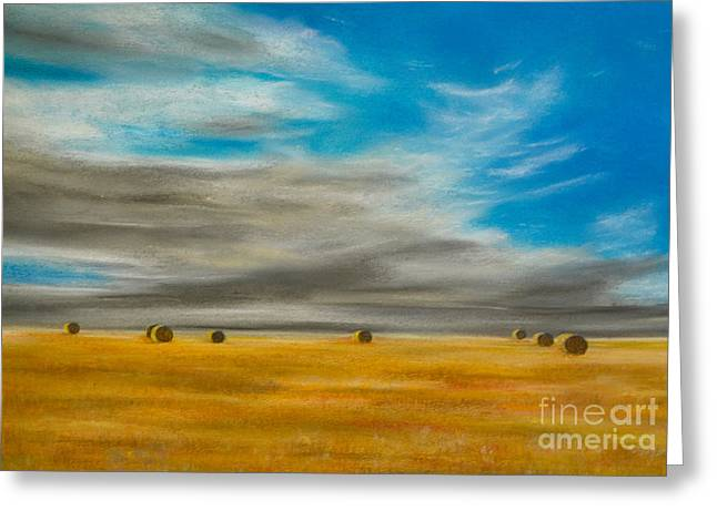 Hay Bales Pastels Greeting Cards - Summer Vastness Greeting Card by Alexandra Lavizzari