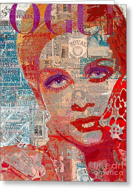 Twiggy Pop Art Greeting Cards - Summer Vogue Chic Greeting Card by Sara Sutton