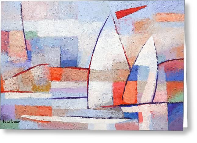 Sailboat Paintings Greeting Cards - Summer Waters Greeting Card by Lutz Baar