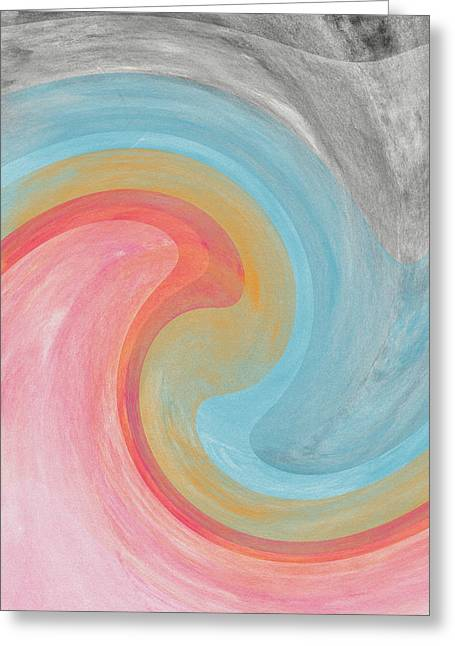 Barrel Mixed Media Greeting Cards - Summer Waves- Abstract Art by Linda Woods Greeting Card by Linda Woods