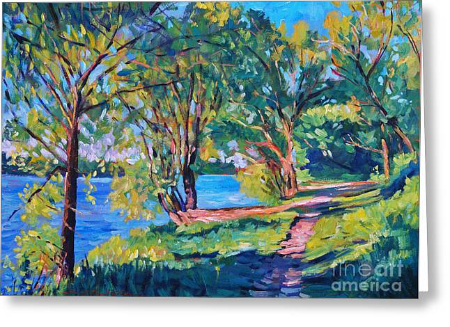 Best Sellers Paintings Greeting Cards - Summers Lake Greeting Card by David Lloyd Glover