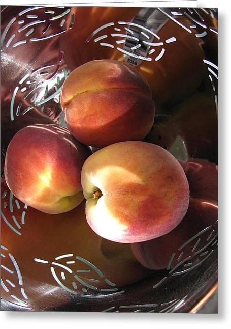 Peachy Greeting Cards - Summertime Fruit Greeting Card by Lindie Racz