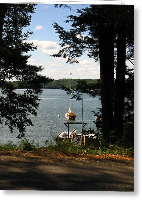 Boats In Water Greeting Cards - Summertime in Maine Greeting Card by Bill Tomsa