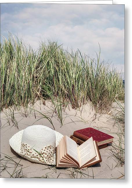 Coastal Dunes Greeting Cards - Summertime Is Reading Time Greeting Card by Joana Kruse