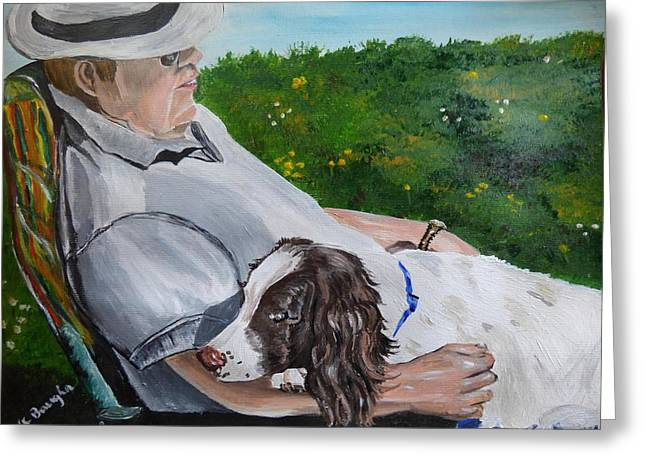 Spaniel Greeting Cards - Summertime Snuggles Greeting Card by Wendy Baughn
