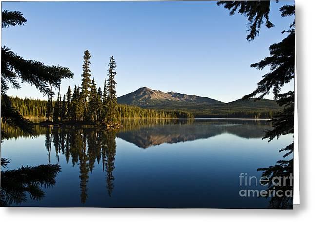 Mountain Reflection Lake Summit Mirror Greeting Cards - Summit Lake Greeting Card by Greg Vaughn - Printscapes