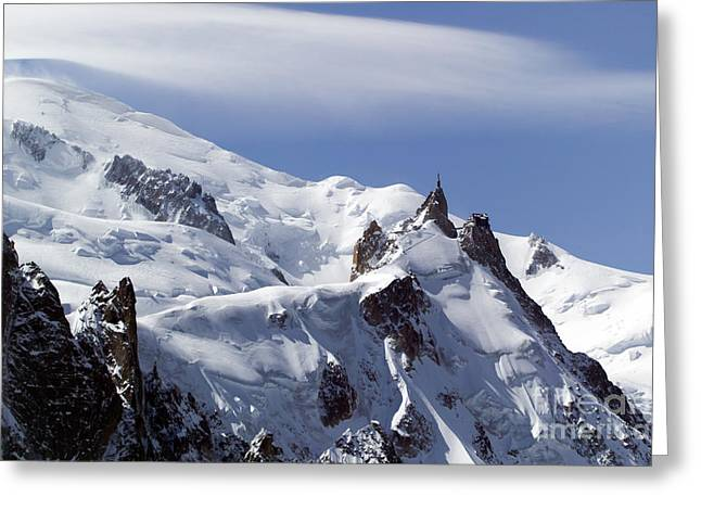 Midi Greeting Cards - Summit of Mont Blanc and LAiguille Du Midi Greeting Card by John Gaffen