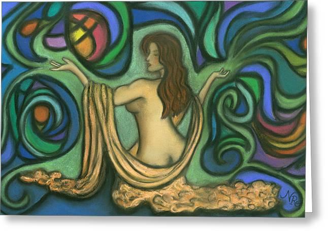 Colorful Abstract Pastels Greeting Cards - Summoning Brigit Greeting Card by Natalie Roberts