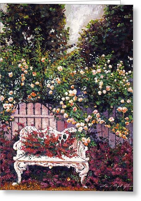 Benches Greeting Cards - Sumptous Cascading Roses Greeting Card by David Lloyd Glover