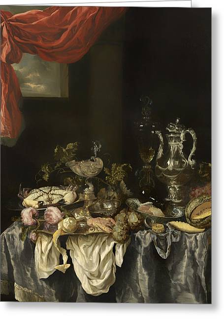 Decanters Paintings Greeting Cards - Sumptuous Still Life Greeting Card by Abraham Van Beijeren
