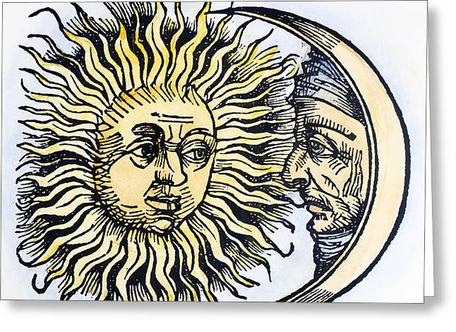 1493 Greeting Cards - Sun And Moon, 1493 Greeting Card by Granger