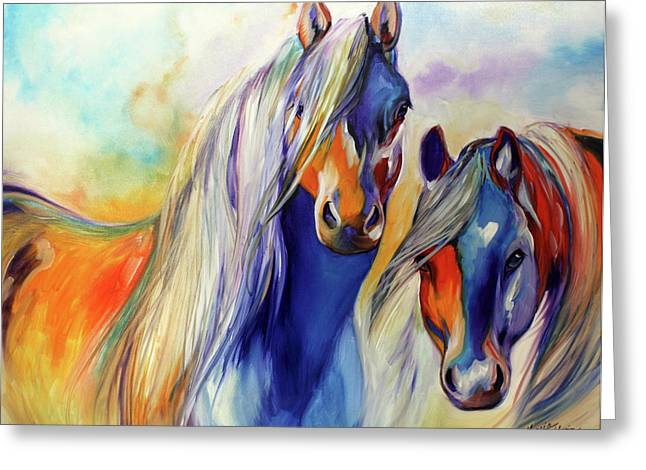 Abstract Equine Greeting Cards - SUN and SHADOW EQUINE ABSTRACT Greeting Card by Marcia Baldwin