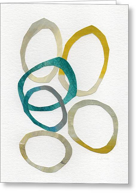 Geometric Art Greeting Cards - Sun and Sky- abstract art Greeting Card by Linda Woods