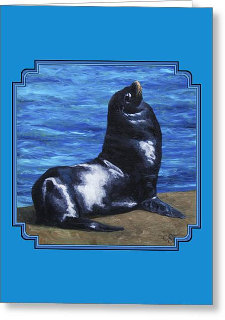 Aquatic Greeting Cards - Sun Bathing Sea Lion Greeting Card by Crista Forest