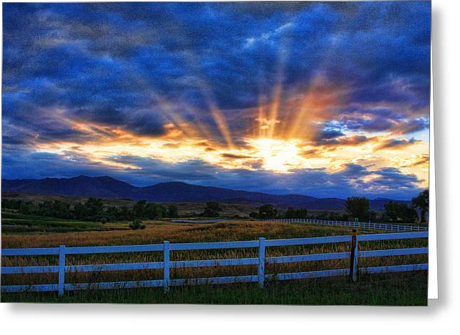 Sun beams in the sky at sunset Greeting Card by James BO  Insogna
