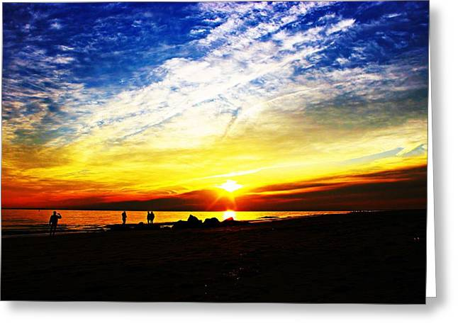 Reflecting Water Greeting Cards - Sun Begins To Fade Greeting Card by Kathy Henderson