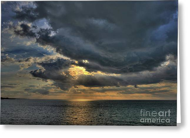 Sun Breaking Through Clouds In Margate Harbour Uk Greeting Card by Mark Carnaby