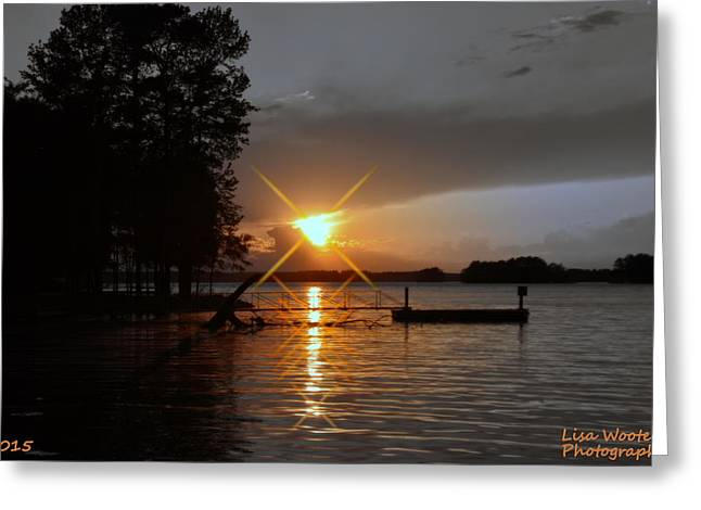 Dock Greeting Cards - Sun Burst At Sun Down Greeting Card by Lisa Wooten