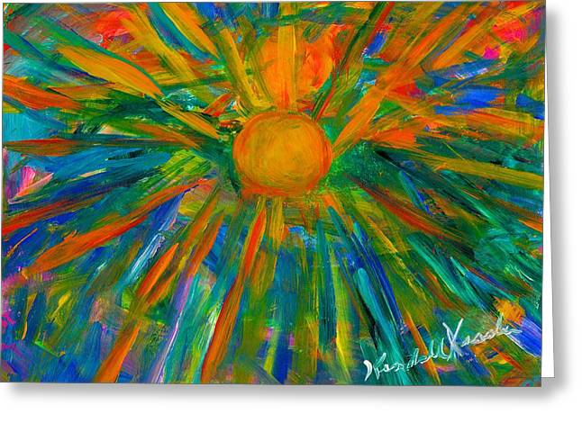 Blue And Green Greeting Cards - Sun Burst Greeting Card by Kendall Kessler