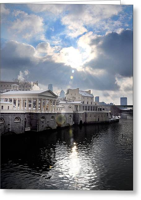 Burst Greeting Cards - Sun Burst Over the Fairmount Water Works Greeting Card by Bill Cannon