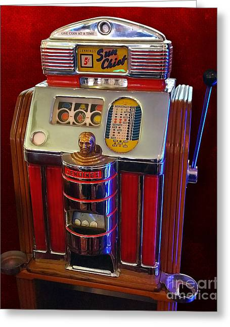 Sun Chief Vintage Slot Machine Greeting Card by Gregory Dyer