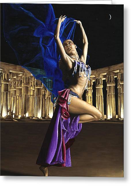 Luxor Greeting Cards - Sun Court Dancer Greeting Card by Richard Young