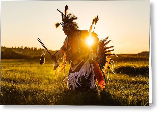 Powwow Greeting Cards - Sun Dance Greeting Card by Todd Klassy