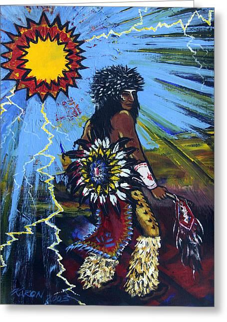 Fancy-dancer Paintings Greeting Cards - Sun Dancer Greeting Card by Karon Melillo DeVega