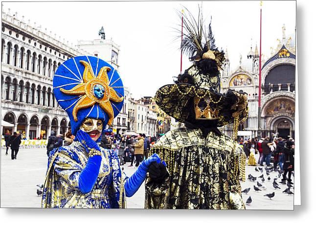Beaded Gloves Greeting Cards - Sun Face 2015 Carnevale di Venezia Italia Greeting Card by Sally Rockefeller