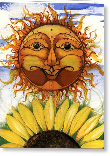 African-american Mixed Media Greeting Cards - Sun flower1 Greeting Card by Anthony Burks Sr