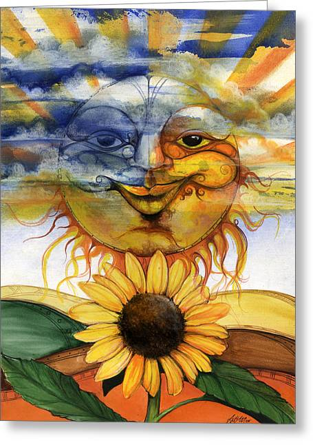 African-american Mixed Media Greeting Cards - Sun flower2 Greeting Card by Anthony Burks Sr