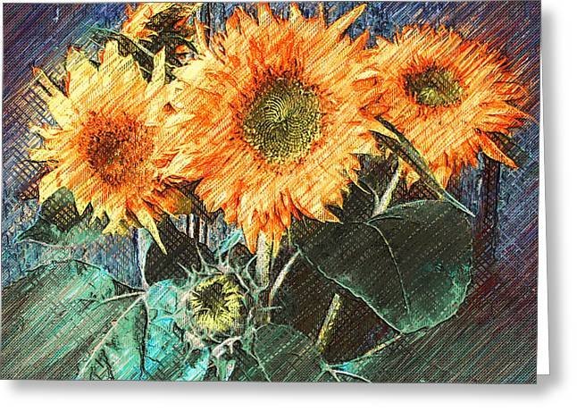 Sun Flowers On Wall Greeting Card by Yury Malkov