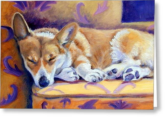 Puppies Paintings Greeting Cards - Sun Glow Nap - Pembroke Welsh Corgi Greeting Card by Lyn Cook
