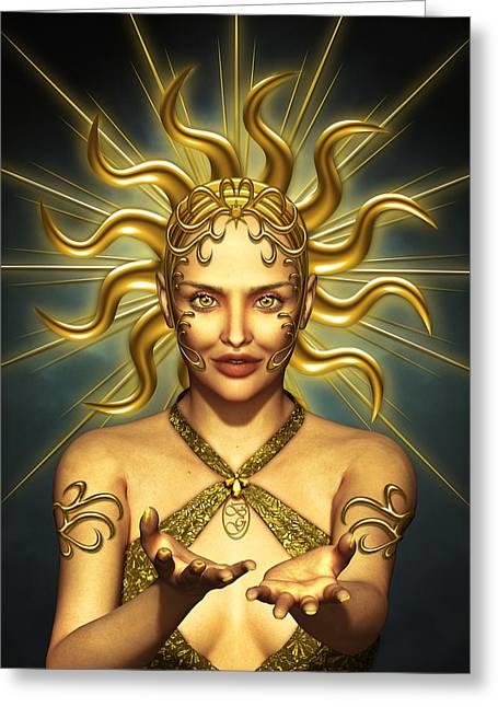 Sun Goddess Greeting Card by Britta Glodde