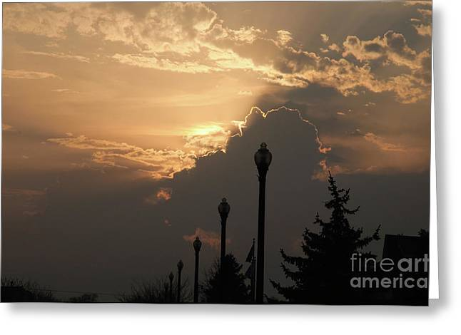 Light Pole Greeting Cards - Sun In A Cloud Of Glory Greeting Card by Andee Design