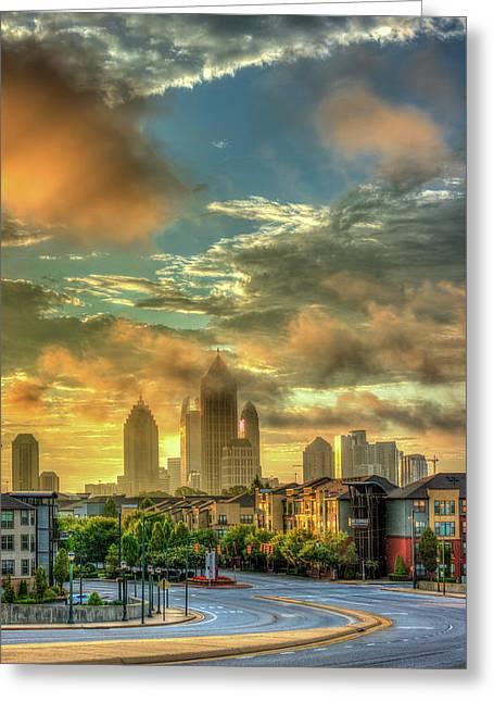 Atlanta University Greeting Cards - Sun Is Up Midtown Atlanta Atlantic Station 2 Greeting Card by Reid Callaway