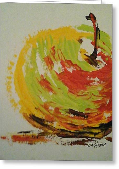 Marine Mollusc Paintings Greeting Cards - Sun Kissed Apple Greeting Card by Terri Rodstrom