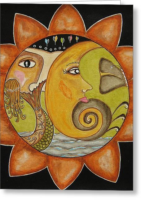Sun Moon And Mermaid Greeting Card by Rain Ririn