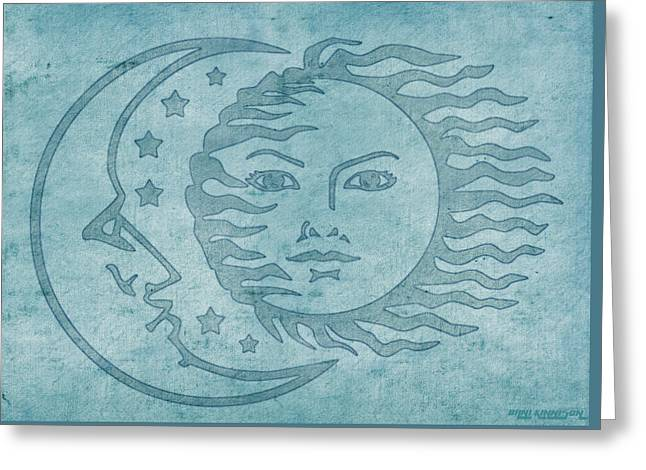 Goddess Tapestries - Textiles Greeting Cards - Sun Moon And Stars Greeting Card by Little Bunny Sunshine
