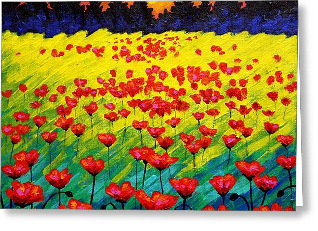 Landscape Posters Greeting Cards - Sun Poppies Greeting Card by John  Nolan