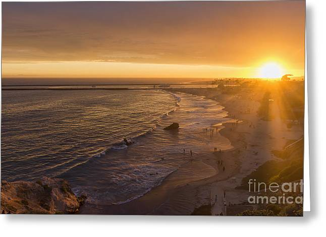 Ocean Shore Greeting Cards - Sun Rays At Inspiration Point Greeting Card by Eddie Yerkish