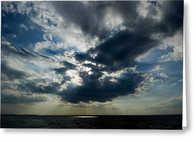 Long Island Sound Greeting Cards - Sun Rays Through Clouds Form A Spot Greeting Card by Todd Gipstein