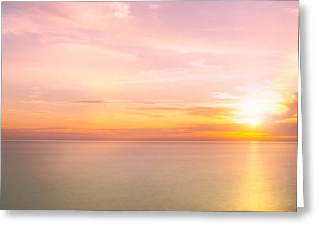 Ludington State Park Greeting Cards - Sun set on Lake Michigan Greeting Card by Todd Bielby