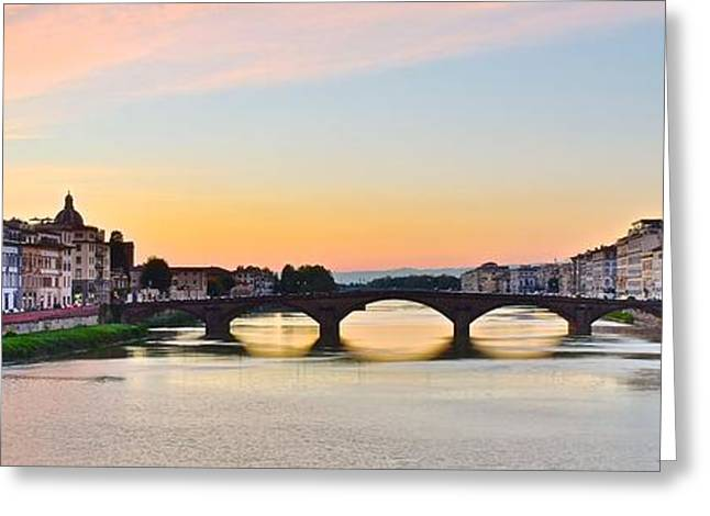 Sun Sets On Florence Greeting Card by Frozen in Time Fine Art Photography